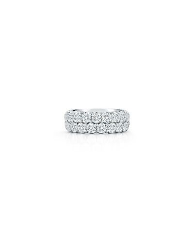 Two-Row Diamond Eternity Band Ring in 18K White Gold, 3.6 tdcw, Size 6.75