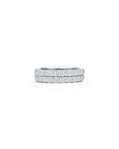 Two-Row Diamond Eternity Band Ring in 18K White Gold, 1.98 tdcw, Size 6.75