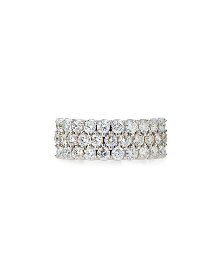 Three-Row Diamond Eternity Band Ring in 18K White Gold, 2.17 tdcw, Size 6.75