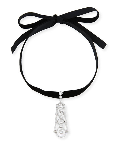 Dangling Diamond Pendant on Velvet Choker