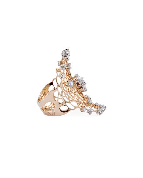 Moresca Diamond Wave Saddle Ring in 18K Rose Gold