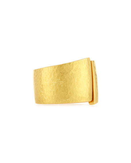 Hammered Split-Center Ring in 18K Gold, Size 8