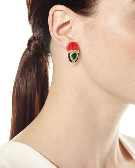 Carved Coral, Onyx & Emerald Earrings with Diamonds