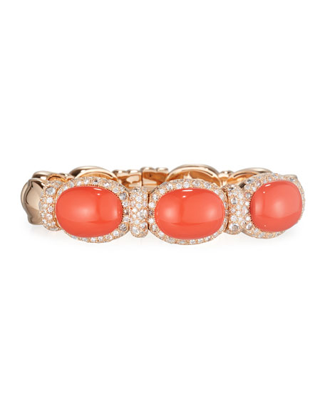 Coral Cabochon & Diamond Bangle Bracelet