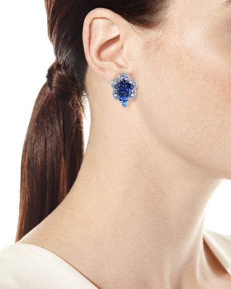 Diamond & Blue Sapphire Flower Earrings