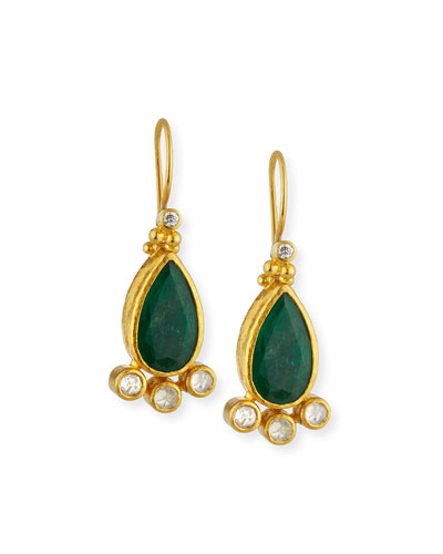 Elements Teardrop Emerald & Diamond Drop Earrings