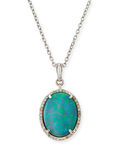 Taormina Cabochon Opal Necklace with Diamonds