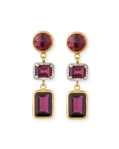 Amulet Hue Three-Drop Rhodolite & Diamond Earrings