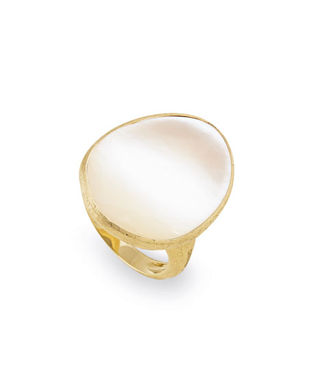 Lunaria Mother-of-Pearl Ring in 18K Yellow Gold, Size 7