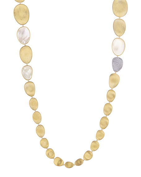 Lunaria Long Mother-of-Pearl Station Necklace with Diamonds, 39""