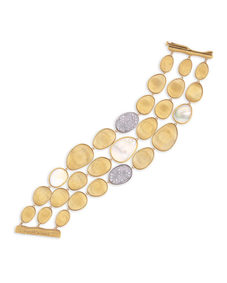 Marco Bicego Lunaria Three-Row Mother-of-Pearl Bracelet with
