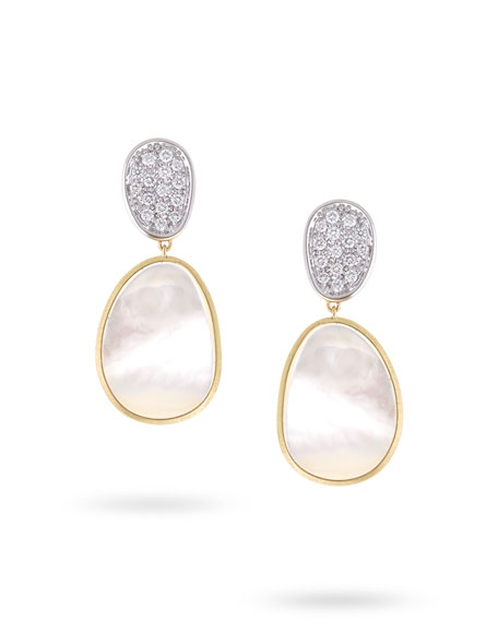 Lunaria Mother-of-Pearl Drop Earrings with Diamonds, 0.56 tdcw