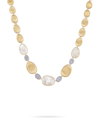 Lunaria Mother-of-Pearl Collar Necklace with Diamonds