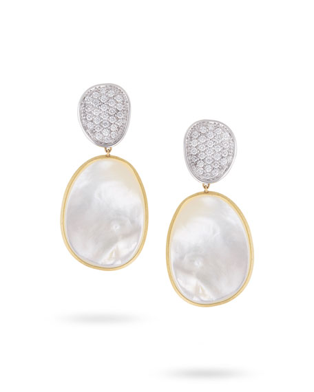 Lunaria Large Drop Earrings with White Mother-of-Pearl & Diamonds, 1.06 tdcw