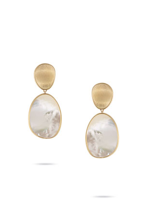 Marco Bicego Lunaria Large Mother-of-Pearl Drop Earrings in 18K Gold