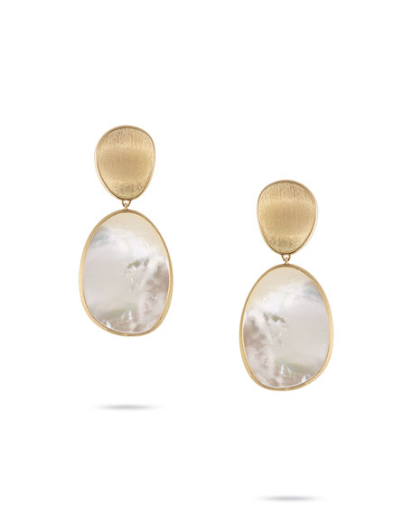 Lunaria Large Mother-of-Pearl Drop Earrings in 18K Gold
