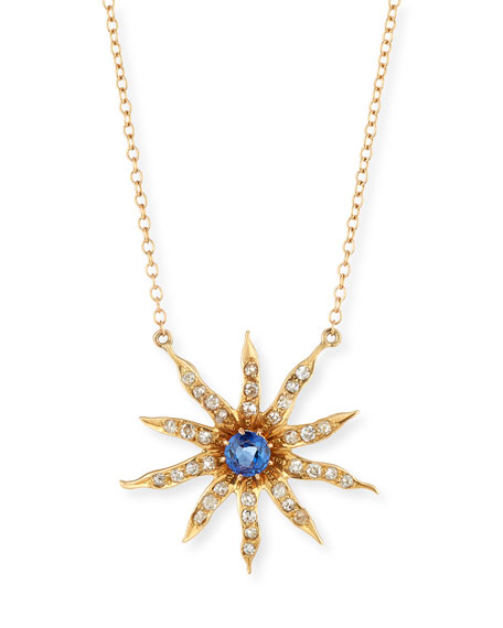 Victorian 14k 10-Point Star Diamond & Sapphire Pendant Necklace