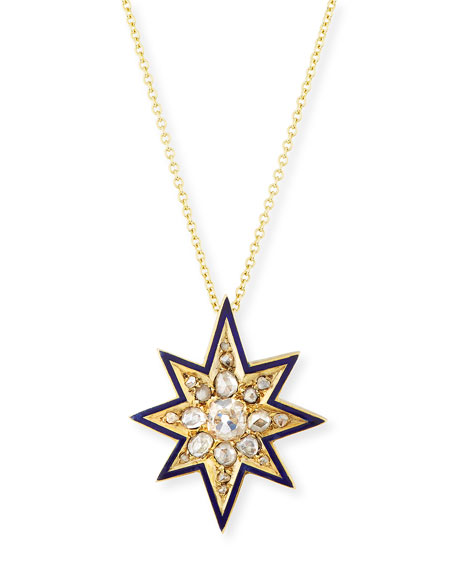 Victorian Eight-Point Star Necklace with Diamonds
