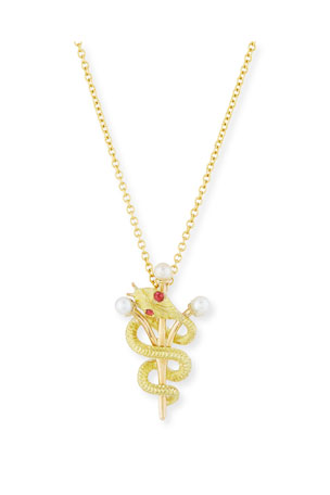 Turner & Tatler Vintage 14k Intertwined Snake & Scepter Pendant Necklace