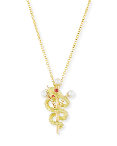 Vintage 14k Intertwined Snake & Scepter Pendant Necklace