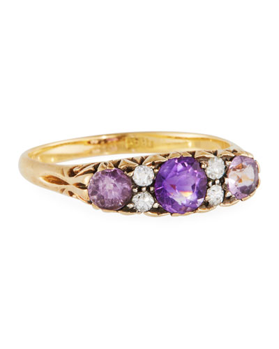18k Old European Diamond & Amethyst Ring, Size 6.5