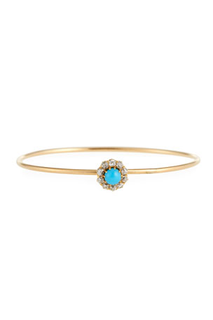 Turner & Tatler 14k Gold Antique-Inspired Turquoise & Diamond Bangle