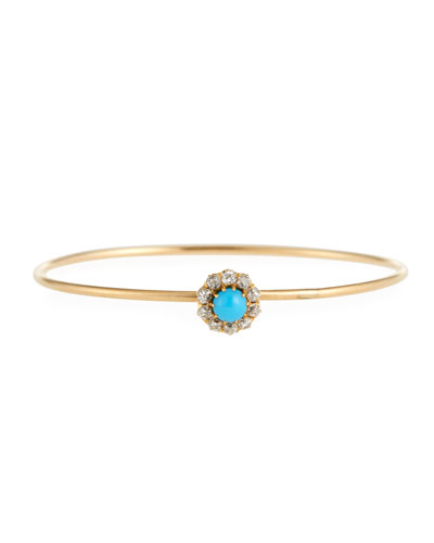 14k Gold Antique-Inspired Turquoise & Diamond Bangle