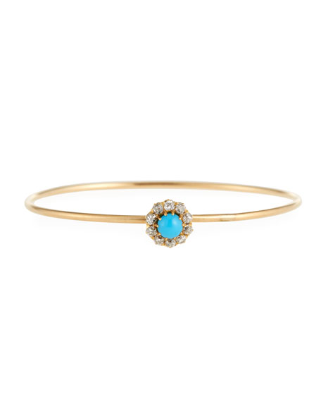 Turner & Tatler 14k Gold Antique-Inspired Turquoise & Diamond Bangle XbOy1T