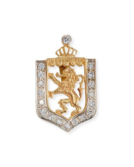 Lion en Rampant Shield Charm with Diamonds