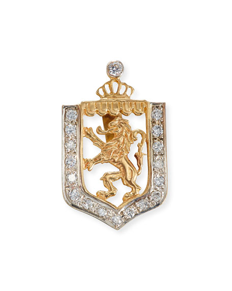 Turner & Tatler Lion en Rampant Shield Charm with Diamonds hW3qlm7