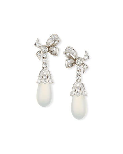 14k Moonstone & Diamond Drop Earrings