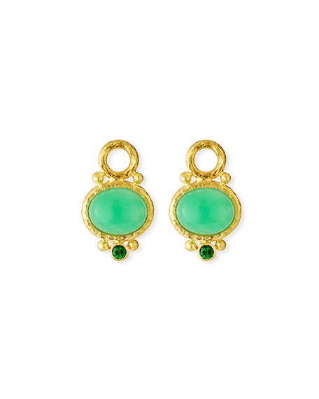 Oval Chrysoprase Earring Pendants