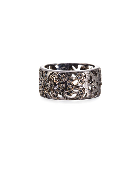 18K Black Gold Band Ring with Black Diamonds
