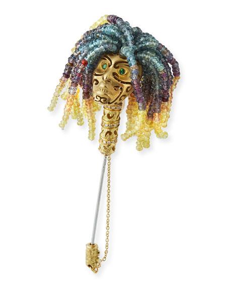Sapphire Beaded Lapel Pin
