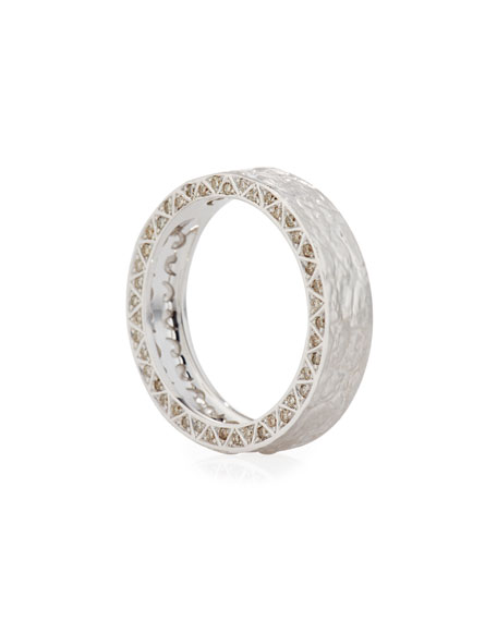 Hammered 18K White Gold Band Ring with Sharktooth Diamonds
