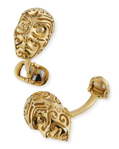 18K Gold & Champagne Diamond Cuff Links