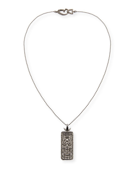 Rectangular Tag Necklace with Black Diamonds