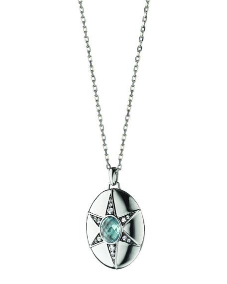 """Blue Topaz & White Sapphire Locket Necklace, 32"""""""