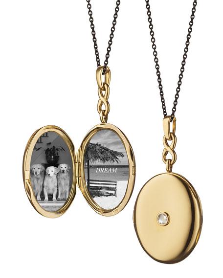 18K Gold Locket Necklace with Diamond Center