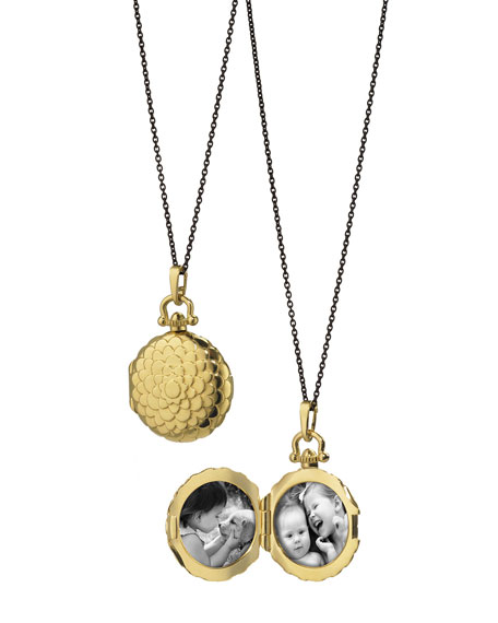 Monica Rich Kosann 18K Petite Scallop Locket Necklace