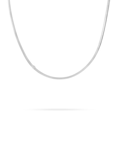 Masai 18K White Gold Necklace with Diamond Station