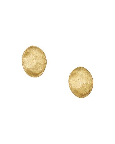 Siviglia 18k Yellow Gold Oval Button Stud Earrings