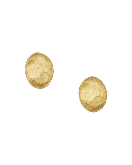 Siviglia 18k Yellow Gold Oval Button Stud Earrings
