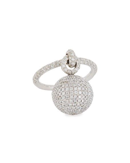 Bellagio Diamond Dangling Ball Ring in 18K White Gold