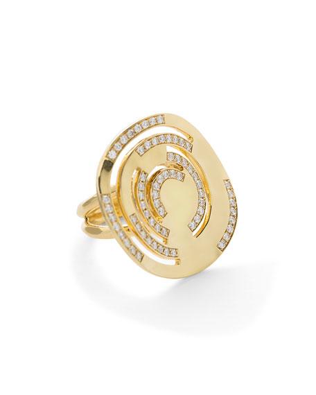 Senso Large Cutout 18K Ring with Diamonds, Size 7