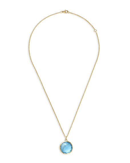 18k Swiss Blue Topaz Pendant Necklace