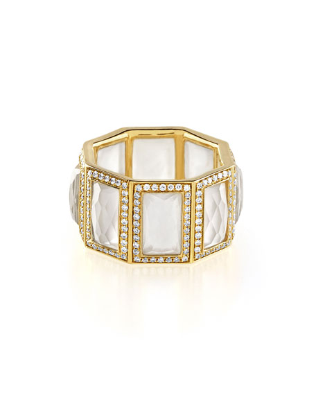 18k Rock Candy 8-Stone Ring in Mother-of-Pearl with Diamonds