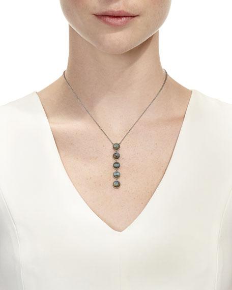 Linear Labradorite Pendant Necklace with Diamonds
