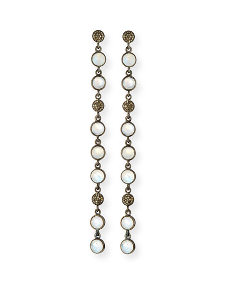 Moonstone & Diamond Circle Drop Earrings