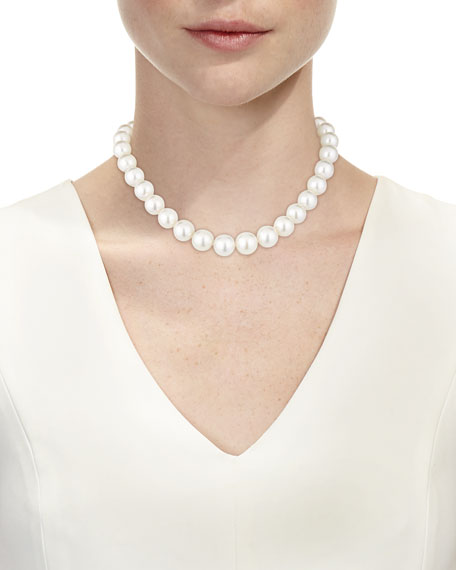 South Sea Pearl Necklace with Diamond Ball Clasp, 18""